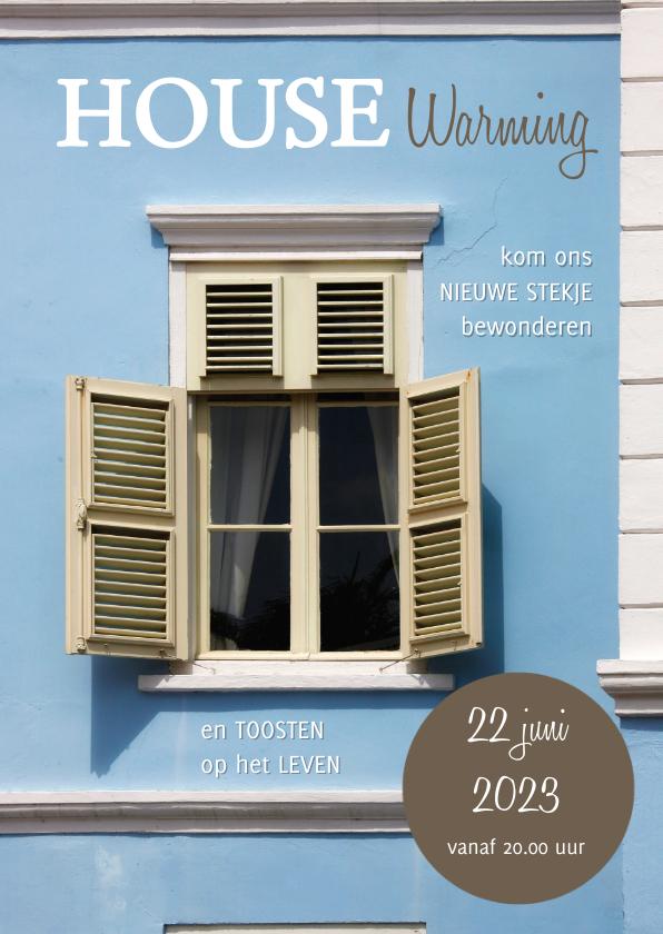 Uitnodigingen - House warming foto venster