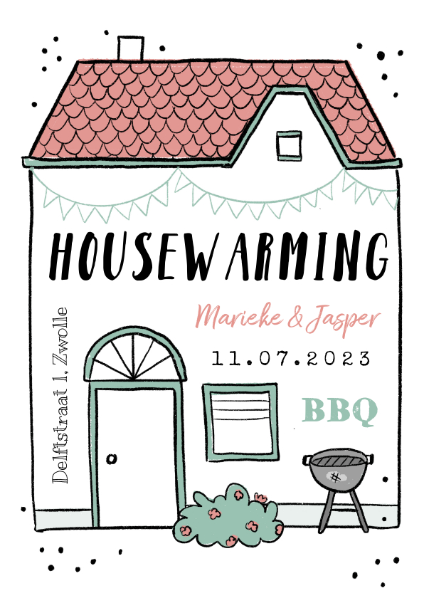 Uitnodigingen - Housewarming uitnodiging huis bbq feestje