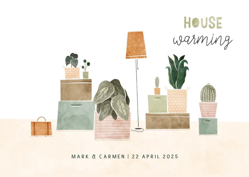 Uitnodigingen - Housewarming uitnodiging met plantjes en verhuisdozen