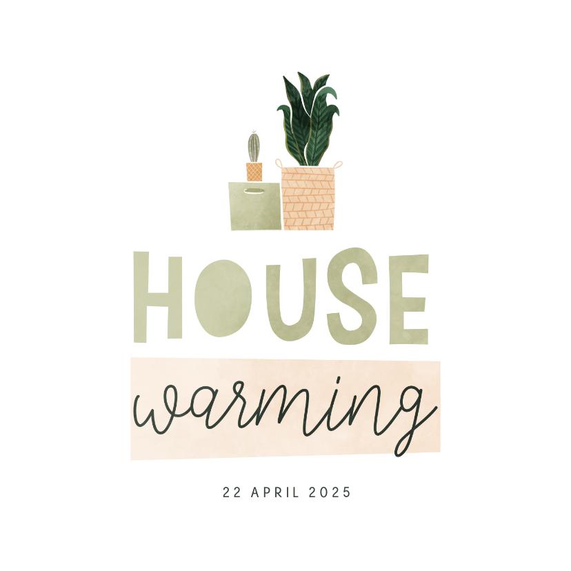 Uitnodigingen - Housewarming uitnodiging met verhuisdoos en plantjes