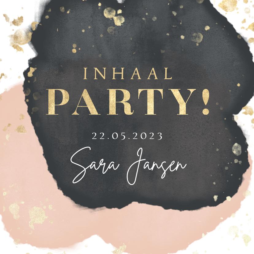 Uitnodigingen - Inhaal party uitnodiging verjaardag goud spetters waterverf