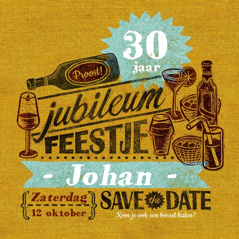 Uitnodigingen - Jubileum uitnodiging stempel geel drank