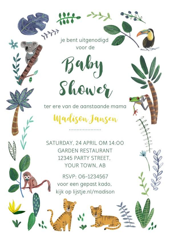 Uitnodigingen - Jungle Baby Shower uitnodiging