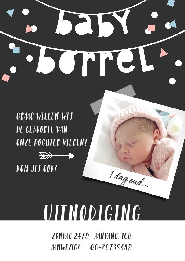 Uitnodigingen - Kraamfeest babyborrel slinger fotokaart confetti