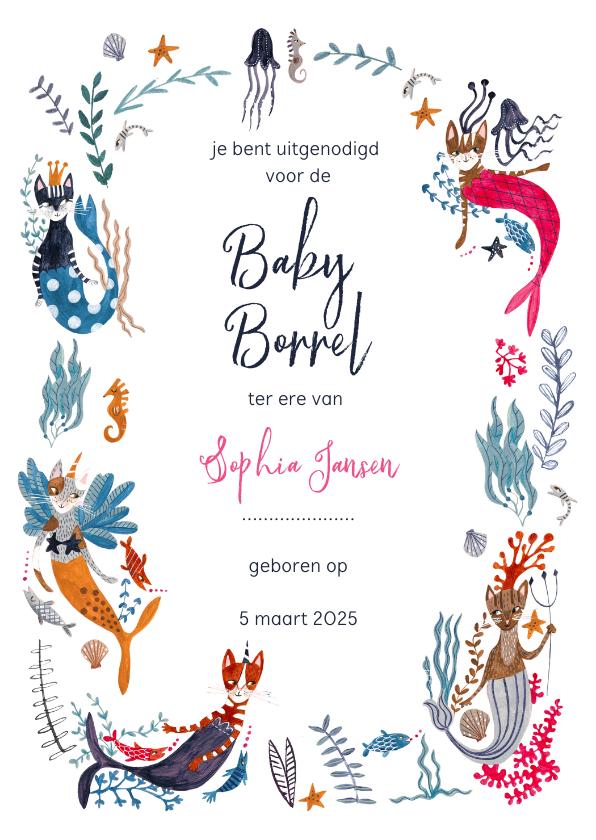 Uitnodigingen - Kraamfeest of Baby borrel uitnodiging met poezen zeemeermin