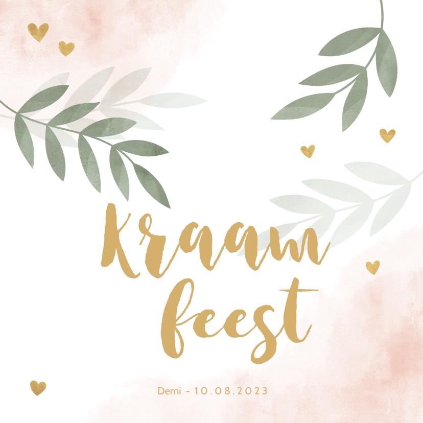 Uitnodigingen - Kraamfeest roze waterverf takjes gouden hartjes