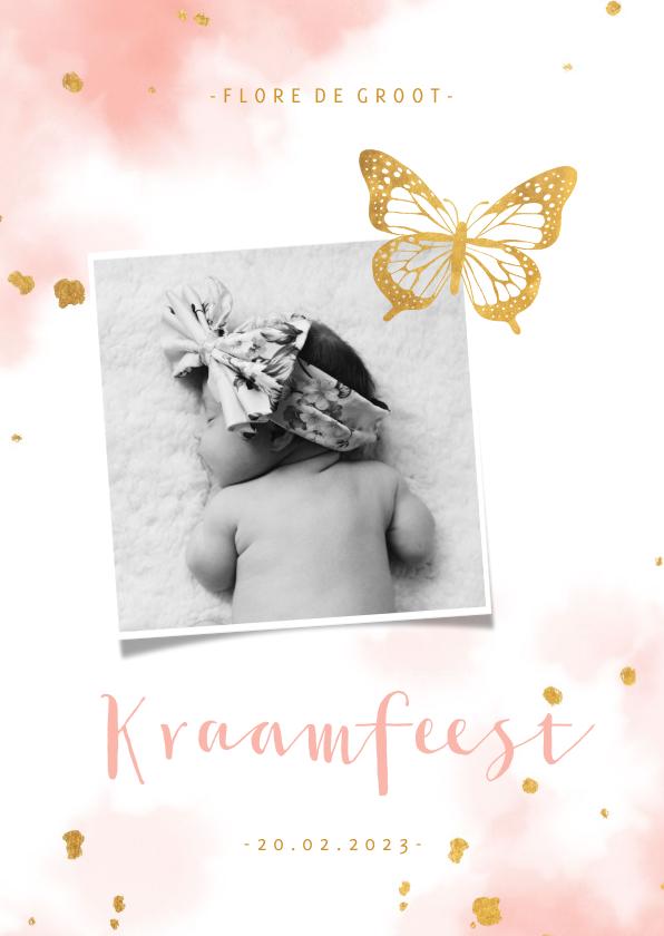Uitnodigingen - Kraamfeest uitnodiging vlinder goud met waterverf