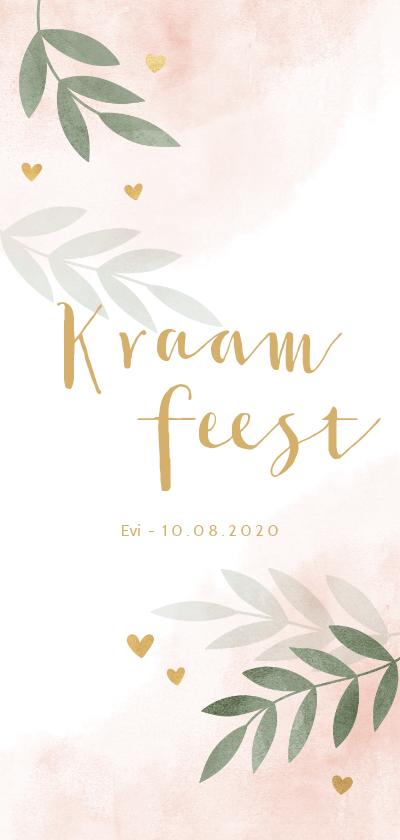 Uitnodigingen - Kraamfeest waterverf roze takjes gouden hartjes