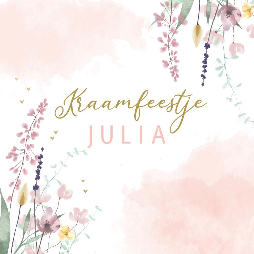 Uitnodigingen - Kraamfeestje droogbloemen watercolor
