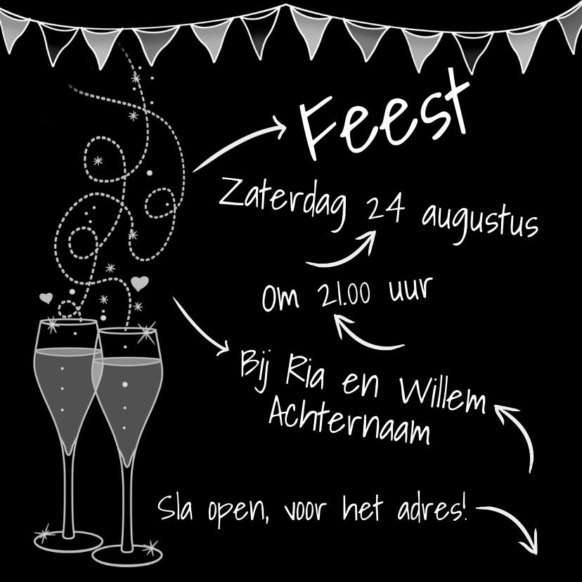 Uitnodigingen - Leuke Uitnodiging Feest met glaasjes op zwart