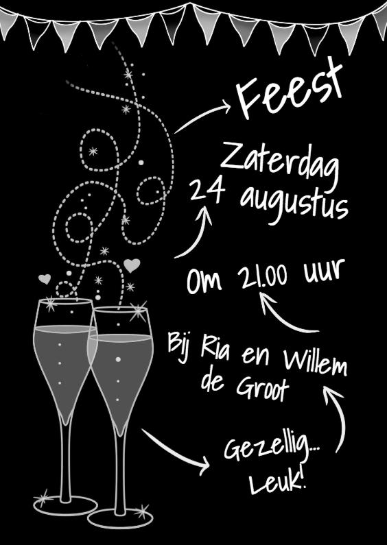 Uitnodigingen - Leuke uitnodiging feest met glazen op zwarte achtergrond