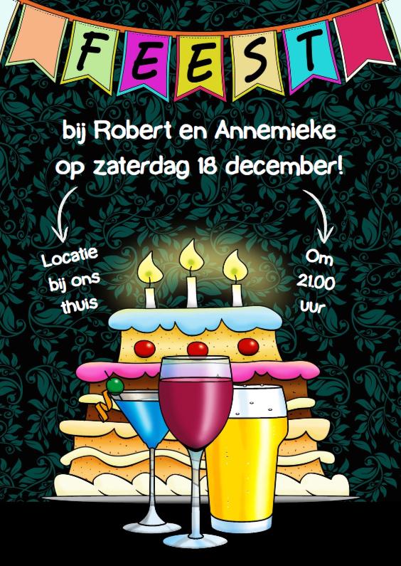 Uitnodigingen - Leuke uitnodiging feest met glazen, vlaggen en taart