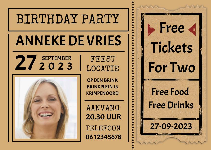 """Uitnodigingen - Leuke uitnodiging """"Free Tickets For Two"""" voor een vrouw"""