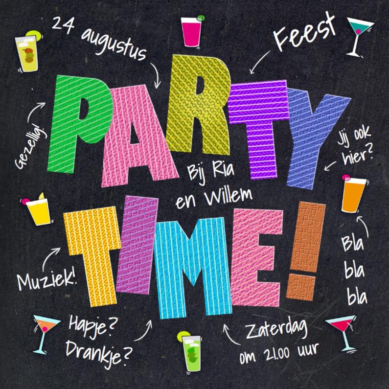 Uitnodigingen - Leuke uitnodiging PARTY TIME op zwart krijtbord