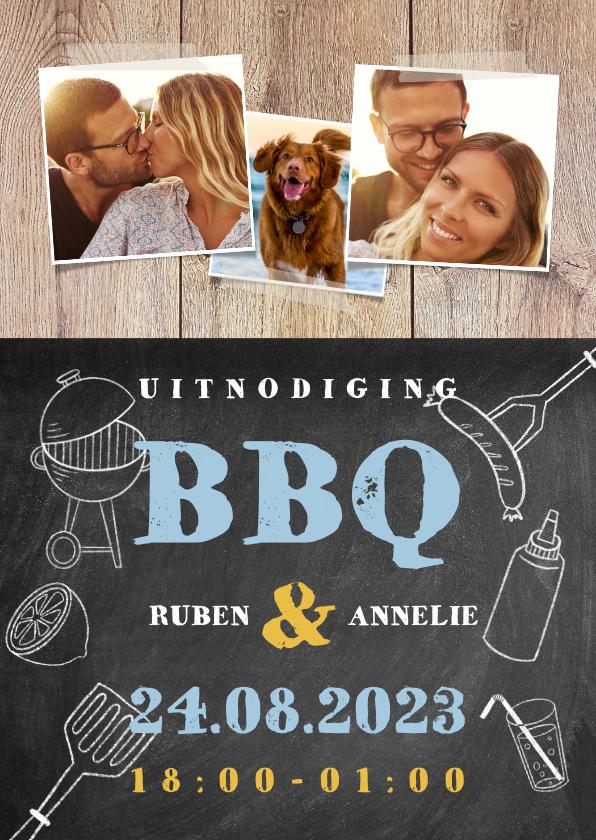 Uitnodigingen - Leuke uitnodiging voor een BBQ met hout, krijtbord en foto's
