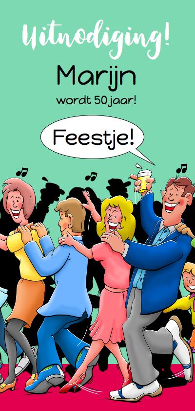 Uitnodigingen - Leuke uitnodiging voor feestje, gasten lopen in polonaise