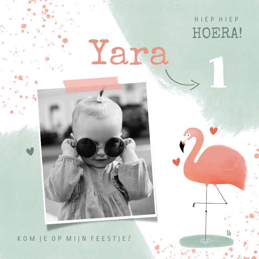 Uitnodigingen - Lieve uitnodiging kinderfeestje 1 jaar flamingo en waterverf