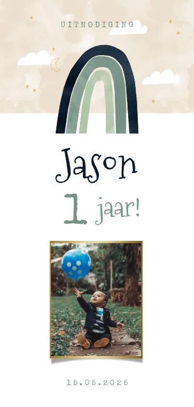 Uitnodigingen - Lieve uitnodiging kinderfeestje 1e verjaardag regenboog