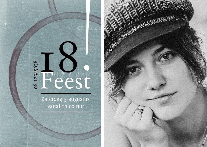 Uitnodigingen - Moderne uitnodiging 18! met foto en cirkels