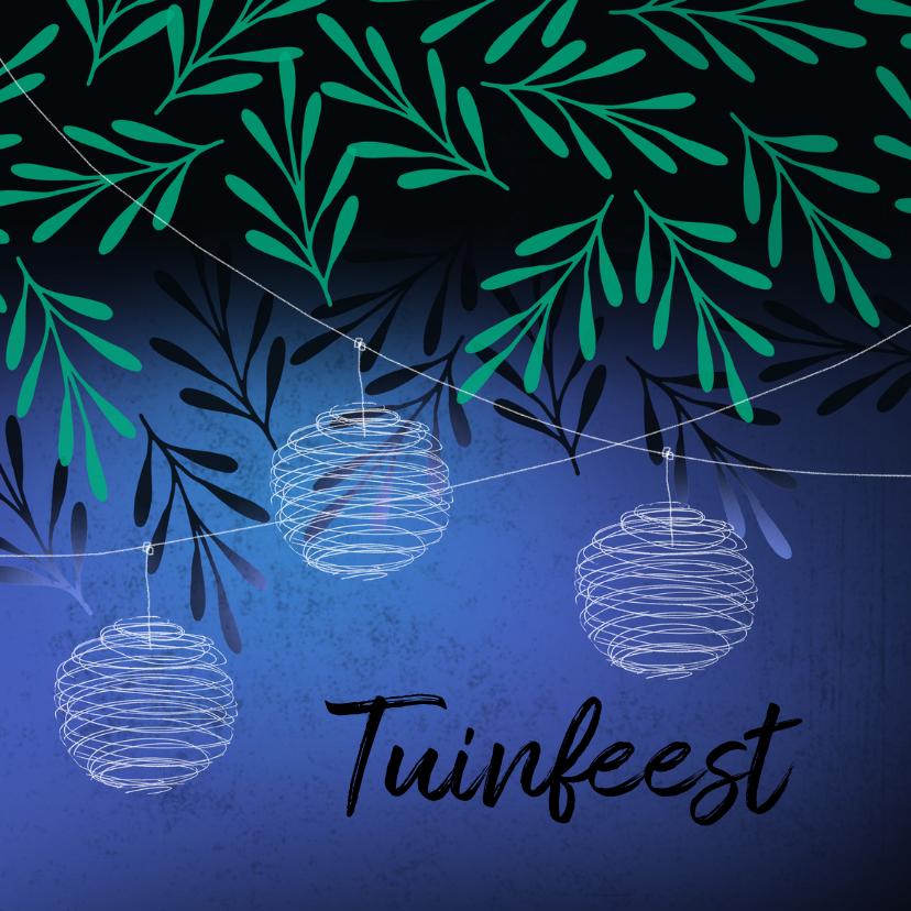 Uitnodigingen - Moderne uitnodiging voor een tuinfeest in groen en blauw.