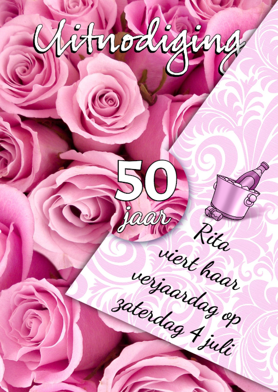 Uitnodigingen - Mooie uitnodiging verjaardag met rozen voor vrouw