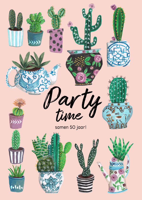 Uitnodigingen - Party Time Cactus Trendy