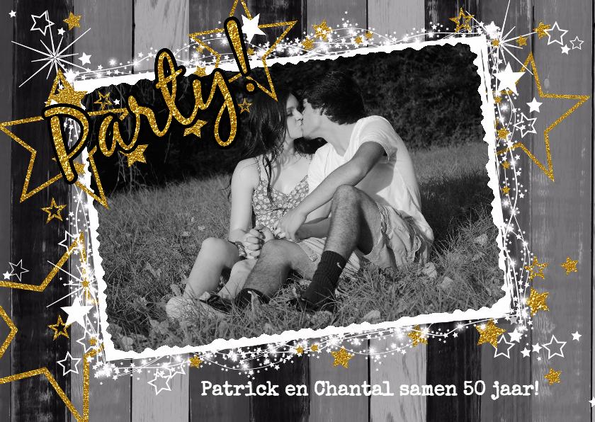 Uitnodigingen - Party! zwart wit goud fotokaart