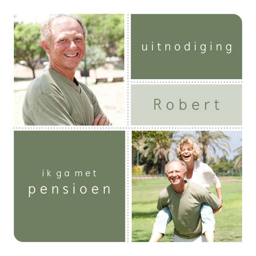 Uitnodigingen - Pensioenfeestje uitnodiging grafisch eigen fotos