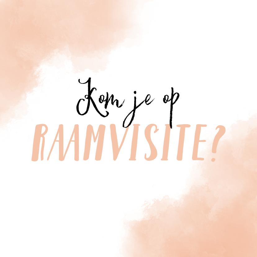 Uitnodigingen - Raamvisite uitnodiging geboorte dochter met roze achtergrond