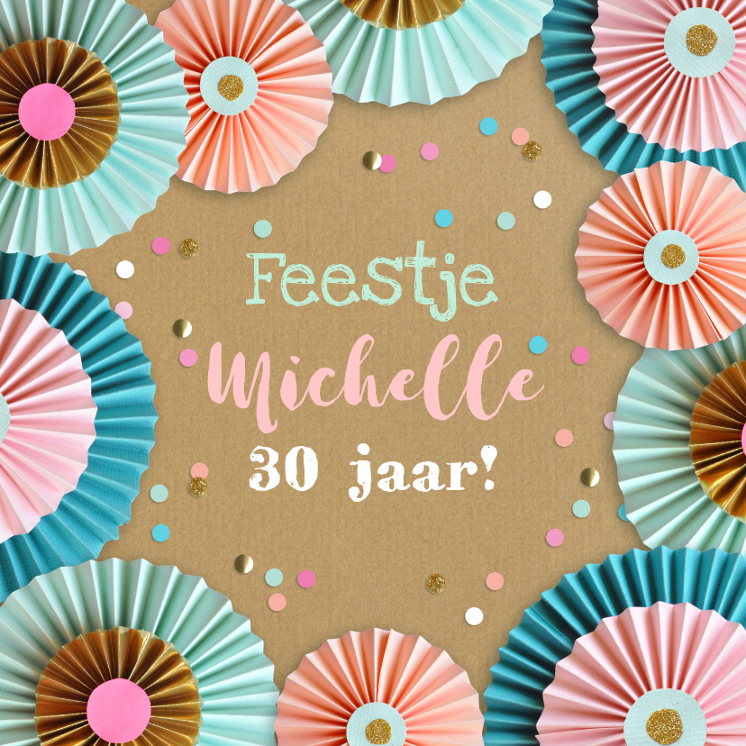 Uitnodigingen - Rozetten en confetti feestje