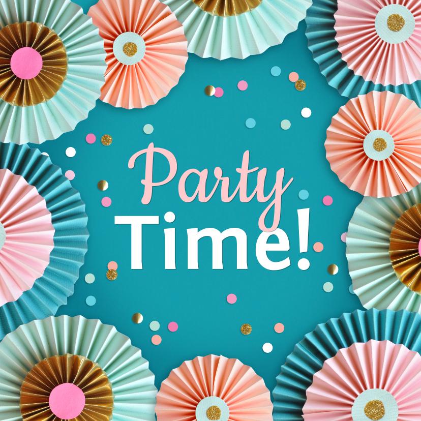 Uitnodigingen - Rozetten en confetti party time