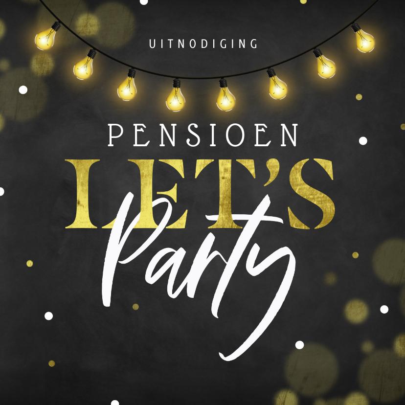 Uitnodigingen - Sfeervolle uitnodiging pensioenfeest krijtbord lampjes
