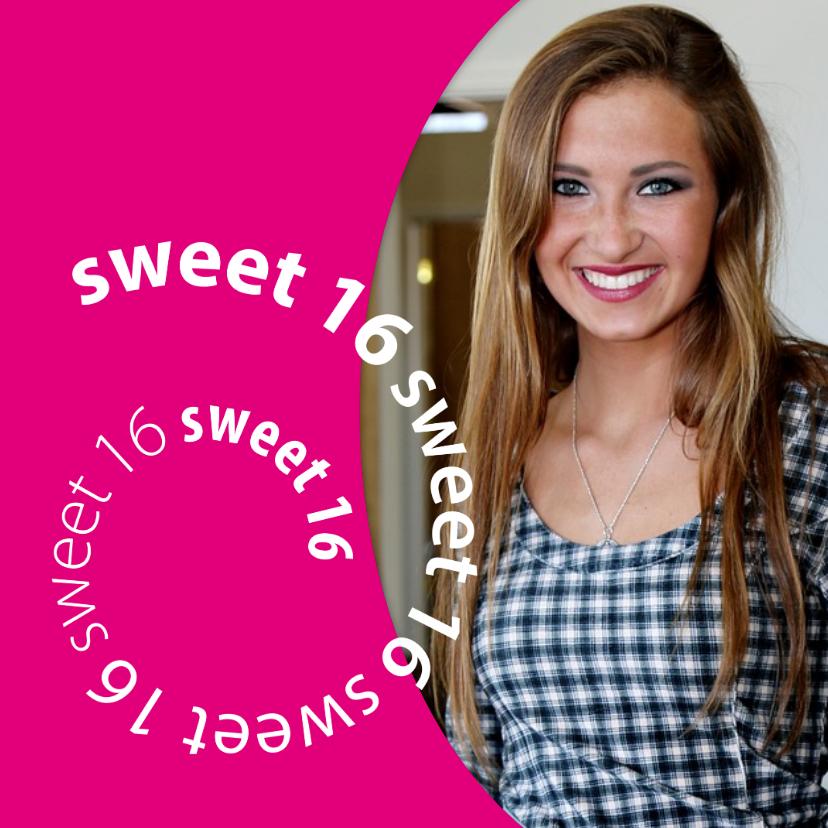 Uitnodigingen - spiraal sweet 16 met foto