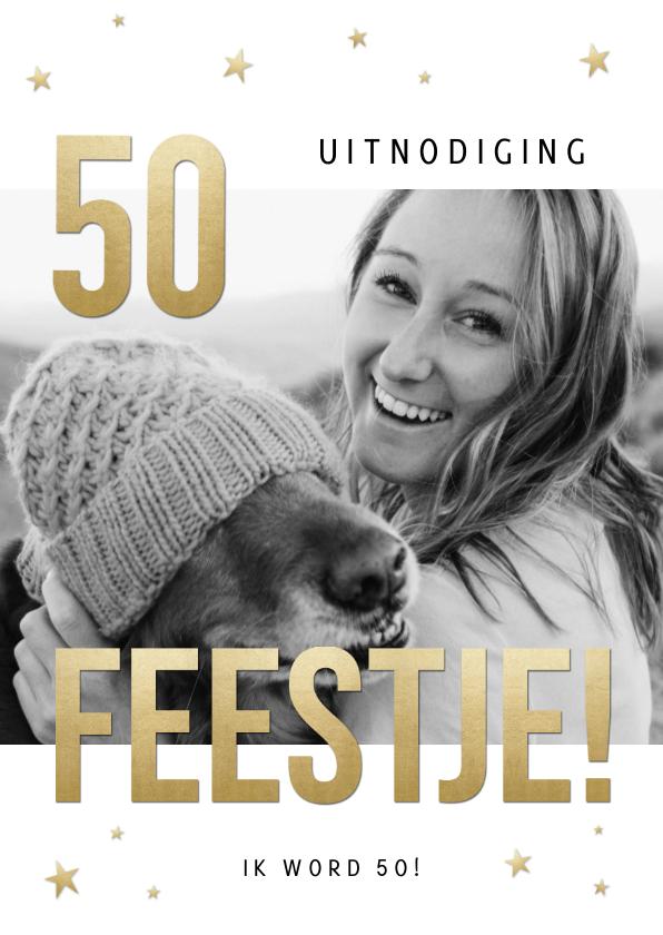 Uitnodigingen - Stijlvolle uitnodiging 50 jaar sterren, foto en Feestje!