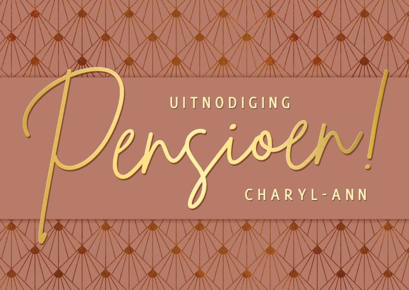 Uitnodigingen - Stijlvolle uitnodiging pensioen vrouw met art-deco patroon