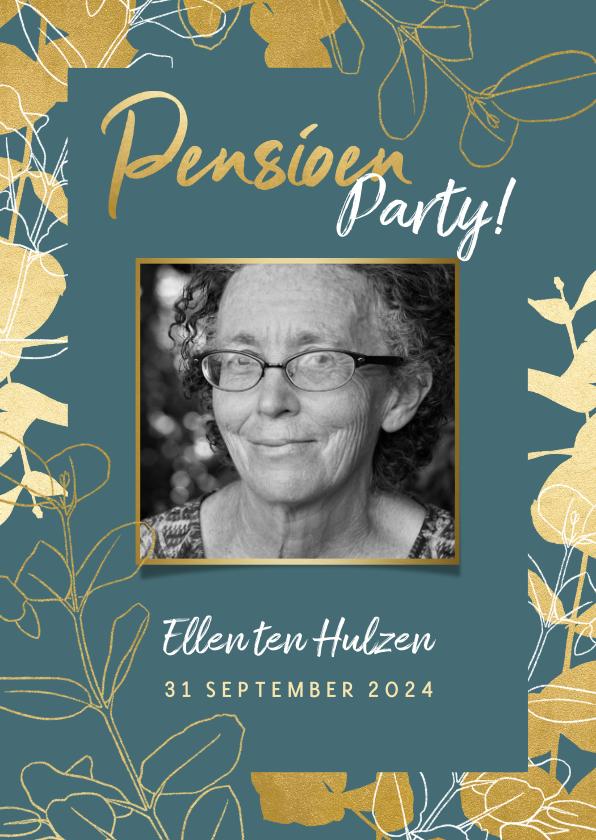 Uitnodigingen - Stijlvolle uitnodiging pensioenfeest met gouden plantjes
