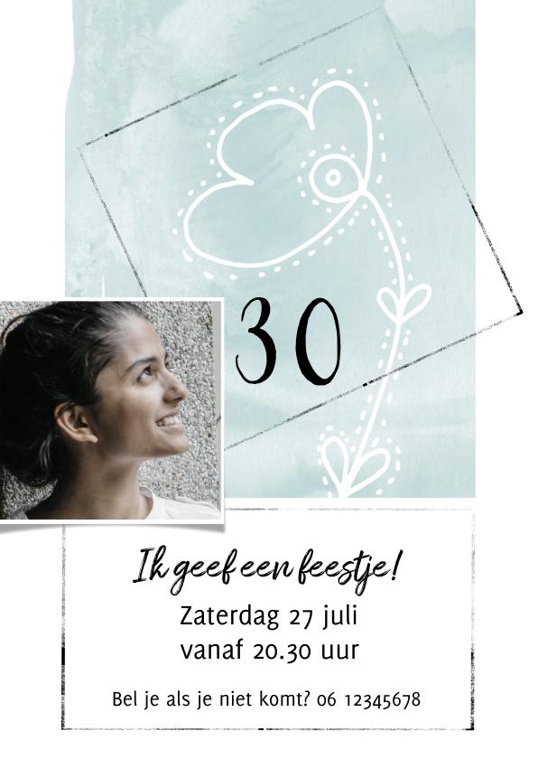 Uitnodigingen - Stijlvolle uitnodiging voor een feestje met foto en bloem