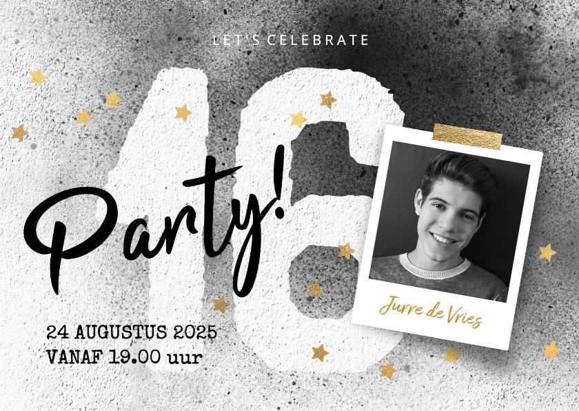 Uitnodigingen - Stoere uitnodiging jongen 16 jaar