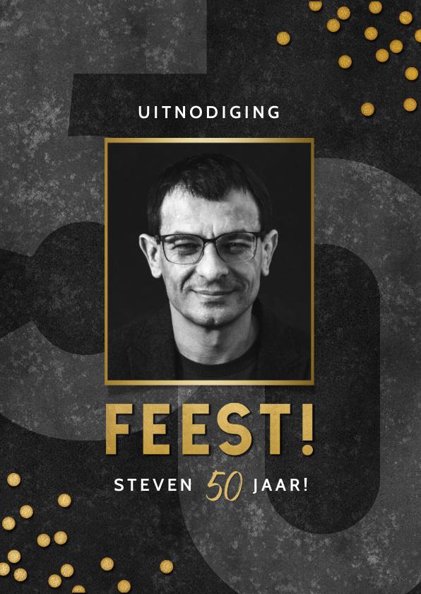 Uitnodigingen - Stoere uitnodiging verjaardag 50 jaar confetti en feest!