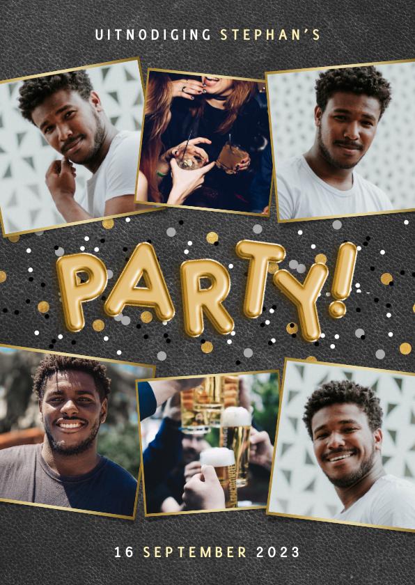 Uitnodigingen - Stoere uitnodiging verjaardag met ballonnen en confetti