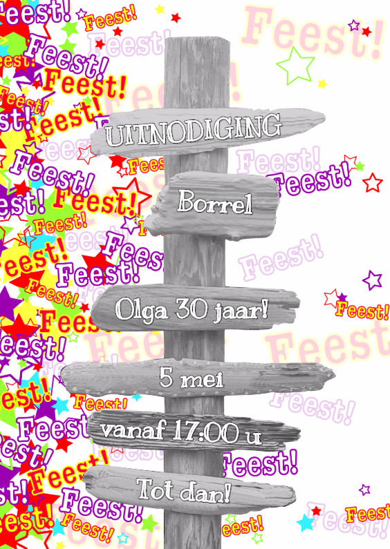 Uitnodigingen - Trendy uitnodiging FEEST S