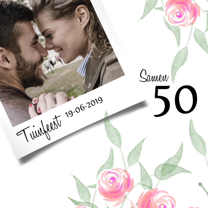 Uitnodigingen - Trendy uitnodiging met roosjes voor een tuinfeest