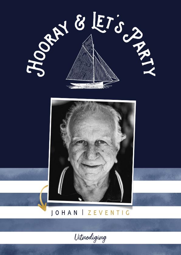 Uitnodigingen - Trendy uitnodiging verjaardag man marinelook met foto