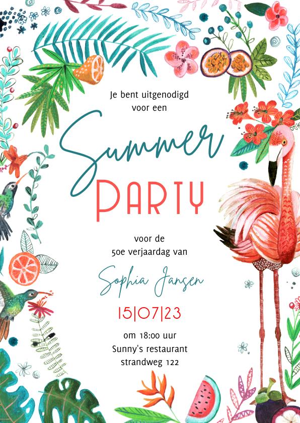 Uitnodigingen - Tropisch zomers tuinfeest met bloemen en flamingo