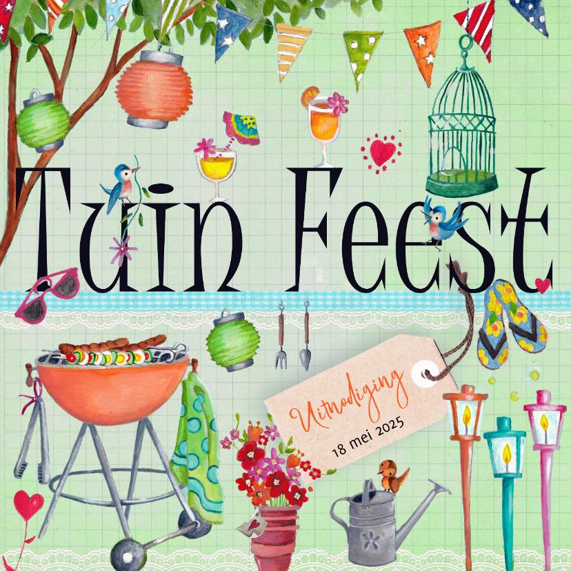Nieuw Tuinfeest BBQ Party Tuin Feest Letters | Kaartje2go YZ-76