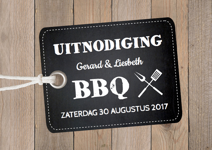 Uitnodigingen - Tuinfeest uitnodiging hout label