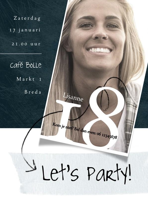 Uitnodigingen - Uitnodiging 18de verjaardag met foto en speelse typografie