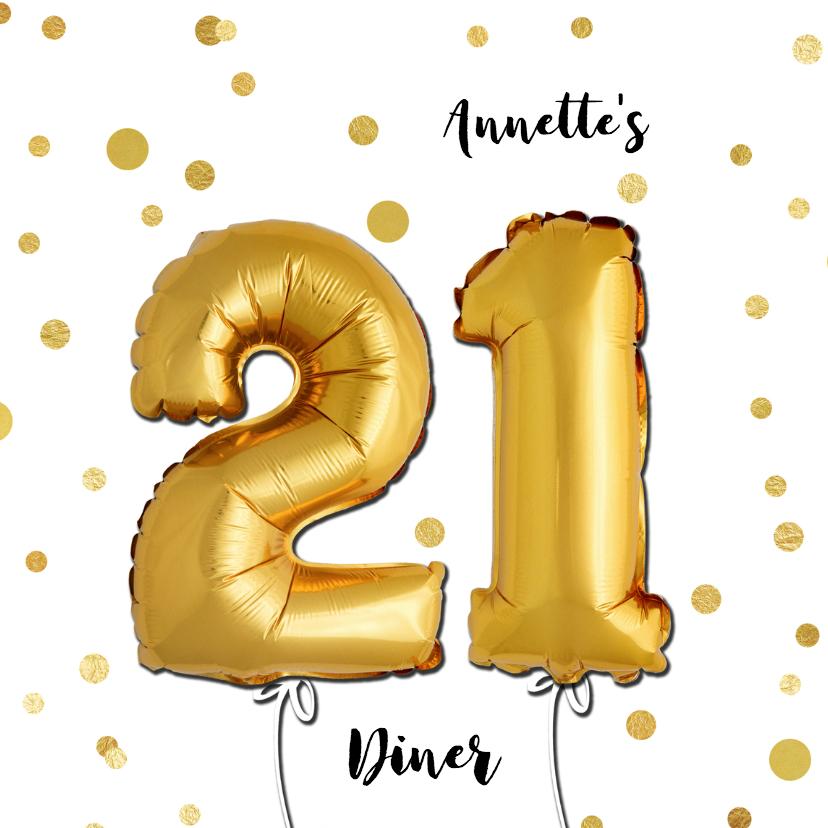 Uitnodigingen - Uitnodiging 21 diner ballonnen goud