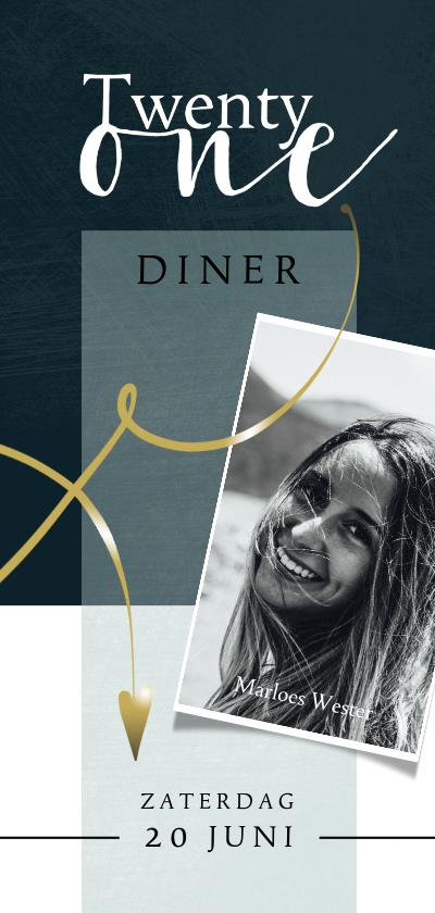 Uitnodigingen - Uitnodiging 21-diner, eenvoudige opmaak met goudlook