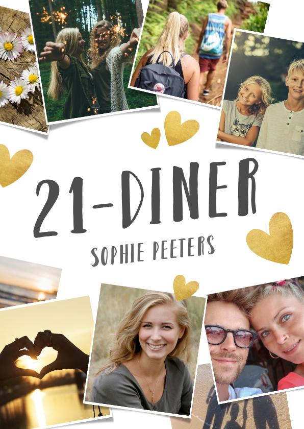Uitnodigingen - Uitnodiging 21-diner fotocollage met gouden hartjes